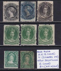 New Brunswick / Nova Scotia 1860 QV Stamp Lot  HICV  See*