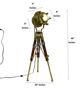 Theater LED Floor Lamp with Wooden Stand Tripod Vintage Searchlight Studio Lamps