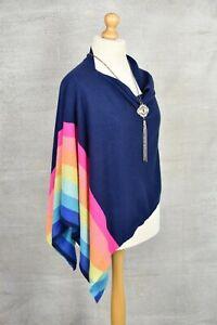 CLAUDIA NICHOLE 100% Pure cashmere rainbow striped poncho cape shawl