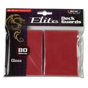Pack of 80 BCW Red Glossy Elite Deck Guard CCG Gaming Card Protective Sleeves
