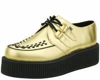 T.U.K. A8648 Tuk Punk Unisex Gold Leather Viva Mondo Creepers  Golden Shoes