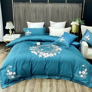 Chic Vintage Embroidery Cover Set  Egyptian Cotton Soft Bedding Set Bed Sheet