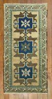 Vintage Turkish Ushak Oushak Yastik Rug Size 1'8''x3'4''