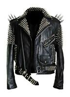 Mens Silver Spiked Studded Brando Style Real Leather Jacket Black Biker Jacket