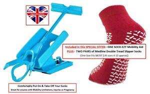 Sock-Ezy Easy slide on-off helper mobility aid + 2 pairs Medline Slipper Socks