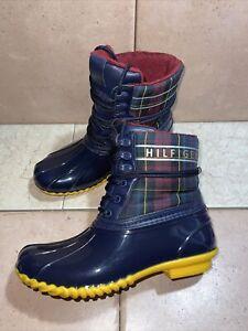 Tommy Hilfiger Women's Sz 7 M US Plaid Multicolor Blue Rubber Hessa Boots MINT