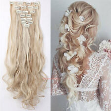Sandy blonde & bleach blonde New 8Pcs Clip in Hair Extension Real Thick Wavy 24""