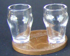 1 12 Scale 2 Traditional Pint Beer Glasses Dolls House Miniature Accessory Gla18