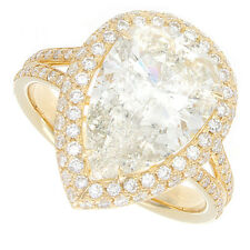 Pear Shape Diamond Engagement Ring 18kt Yellow Gold K Si3 3.50ct