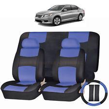 PU LEATHER BLUE & BLACK SEAT COVERS 11PC SET for HONDA PILOT ACCORD