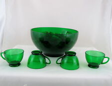 Anchor Hocking Forest Green Punch Bowl +12 Cups