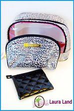 Victoria's Secret Make Up Bag Cosmetic Case Leopard Vinyl Travel Set of 3 ~NWT