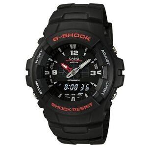 Casio G100-1BV,  G-Shock 200 Meter WR Black Resin Watch,  Analog/Digital,  Alarm