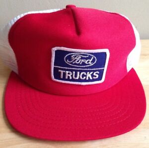1970s 1980s FORD TRUCKS BASEBALL CAP HAT, RED with WHITE MESH, NEW VINTAGE