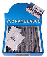 50 Namensschilder / Visitenkartenhalter mit Clip und Nadel, Format 90 x 57 mm