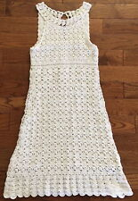 Diane Von Furstenberg White Crochet Dress Knit Lace Linen Silk Sundress Small