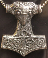 Thors Hammer Amulet Pendant Pewter on Chain, with information card *[THAP]