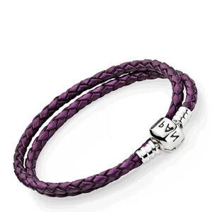 HOT S925 Genuine Pandora Purple Double Leather Bracelet 590705CPE-D2 Free Pouch