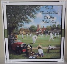 HANDMADE VINTAGE FATHER'S FATHERS DAY CARD GAME OF CRICKET ON THE VILLAGE GREEN