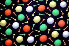 """ORANGE, GREEN, & WHITE GOLF BALLS & TEES ON BLACK FLEECE MATERIAL 2 YDS 60x72"""""""