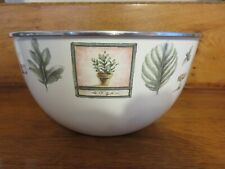 Enamel  Mixing Bowls With Herbs Set Of 6