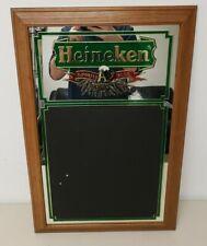 "Heineken Beer Mirror Sign Chalkboard Wall Bar Man Cave 29.5"" x 19.5"" Vintage"