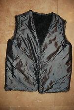 Dark Pewter Gray Satiny Fabric & Faux Fur Reversible GUESS Vest Medium