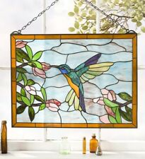 Hummingbird Stained Glass Suncatcher Window Panel Hanger Tiffany Style Victorian