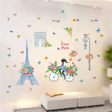 Paris Flowers Girl Room Home Decor Removable Wall Sticker Decal Decoration