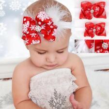 Christmas Polyester Big Bow Hair Band Feather Headband Elastic For Baby Girl