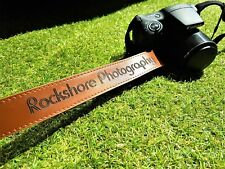 Personalised DARK BROWN Faux Leather Camera Neck Strap Photography Wedding Gift