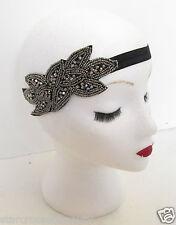 Silber & Schwarz Vintage Kopfteil Flapper 1920s Stirnband Great Gatsby Wulstig