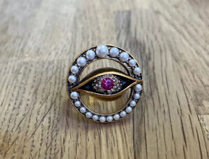 Alexander McQueen Third Evil Eye Ring, Swarovski Pink/Crystal/Pearl/Antique Gold