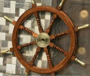"Nautical Wood Ship Wheel Large Boat Steering Helm 36"" Wooden"