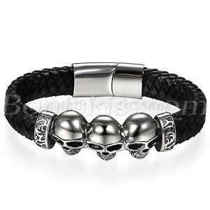 Men's Punk Black Braided Leather Magnetic Stainless Steel Skull Bracelet Cuff