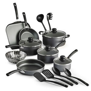 18 Piece Cookware Set Pots Pans Kitchen Cooking Non Stick Home Dinning Cook Gray