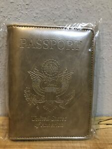 Gold Travel  USA Passport Organizer Holder Card Protector Cover Wallet
