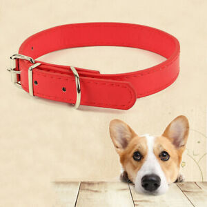 Pet Dog Leather Collar Metal Buckle Necklace For Small Medium Dogs Adjustable