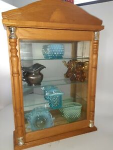 "Small Solid Oak Curio Cabinet Mirror Backed & 3 Glass Shelves 19×13×3.75"" ExC"