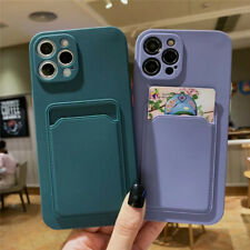 Silicone Case With Card Slot Holder For iPhone 12 11 Pro Max Mini XS XR X