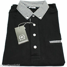 Relco Mens Black Polo Shirt Button Down Gingham Check Collar Mod SKA Skin Casual 2xl