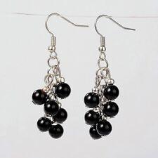 1 Black Agate Pair of Platinum Plated Gemstone Dangle Earrings #278