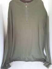 Dark Olive Green Men's Knit Sweater 3X Partial Zip Up  Casual Large Size