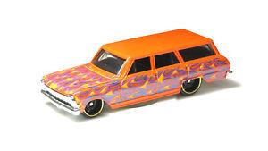 Orange 1:64 Hot Wheels '64 Chevy Nova Wagon Kids Diecast Toy Car HW Flames GHD61