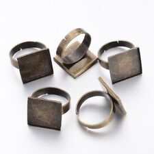 10pcs Brass Adjustable Ring Blanks Bronze Square Bezel Setting Cup 15.5mm Tray
