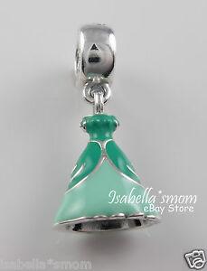 Princess ARIEL DRESS Genuine PANDORA DISNEY Green Enamel Dangle Charm 791577ENMX