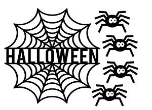 HALLOWEEN cobweb 4 spiders window sticker decal scary kids decoration 017