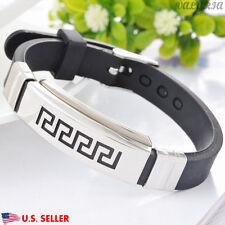 VALYRIA 8.8'' 316L Stainless Steel Men's Greek Key Black Silicone Bracelet USA