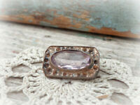antique Edwardian silver amethyst color brooch pin missing seed pearls tiny