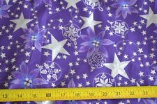 By 1/2 Yd, Metallic Silver on Purple Stiffer Quilting Cotton, Blank/2001, N269